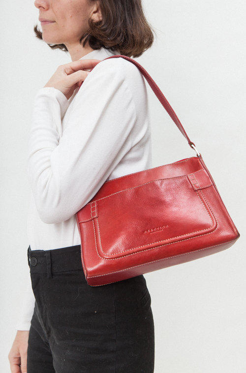 Jasmine vintage red leather purse
